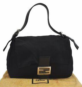 Authentic FENDI Shoulder Hand Bag Canvas Leather Black B7398