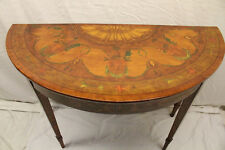 Gorgeous 19th Century English Hepplewhite Hand Painted Console Table