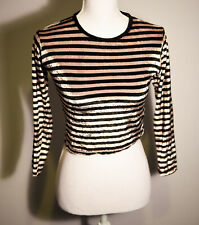 Tripp NYC Black & silver/off-white striped velvet Long sleeved cropped Top 10