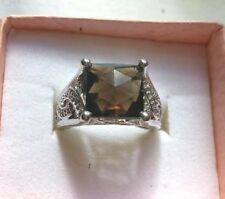 Stunning Smokey Quartz Diamond .925 SS Ring