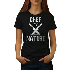 Wellcoda Chef By Nature Womens T-shirt, Knife Casual Design Printed Tee