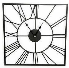 Marco de metal negro con estilo cuadrado cortado Esqueleto Número Romano Reloj 40Cm