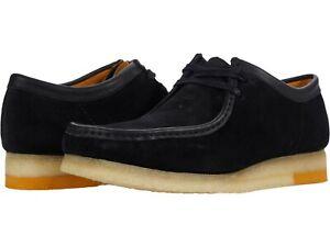 Men's Shoes Clarks Originals WALLABEE Lace Up Suede Moccasins 57369 BLACK COMBI