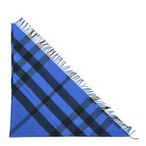 Burberry Cashmere Mega Check Triangle Bandana Scarf Bright Blue