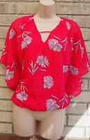 G21 PINK WHITE FLORAL SPOTTED CAPE BAGGY SHORT SLEEVE BLOUSE T SHIRT TOP 12 M