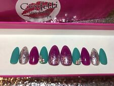 Purple & Teal Sparkle Press On Nails - Handmade Hand Painted Fake Fingernails