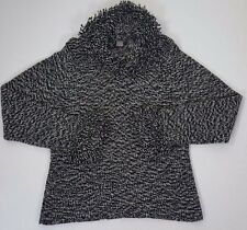 Saks Fifth Avenue Black White Wool Cashmere Cowl Neck Women's Sweater Large