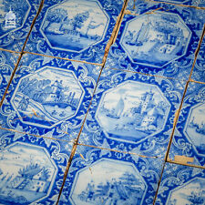 More details for set of 14 hand painted dutch blue and white tiles