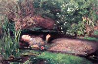 Oil painting J. W. Waterhouse - Female portrait Ophelia on the river canvas 36""