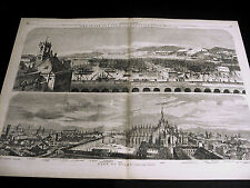 Bird's Eye View Italy MILAN w Key & GENOA 1859 Large Folio Print FINE COND.