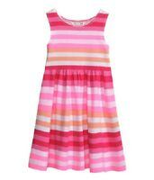 GIRLS PINK STRIPED SOFT PURE COTTON DRESS IN AGE 2-4,4-6 AND 6-8 YEARS BNWT