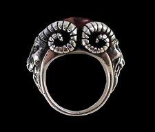 Sterling Silver Bighorn Baphomet Garnet Ring -All Sizes- Goat Ram Devil Lucifer