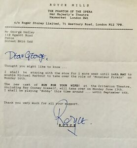 ROYCE MILLS Genuine Handsigned Signature on Typed Letter.