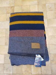 "Brand New! Pendleton Yakima Camp Lake Twin Blanket 84"" x 66"" STRIPE BROWN BLUE"