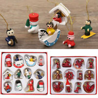 12 Traditional Wooden Xmas Figurines Christmas Tree Hanging Decorations Ornament
