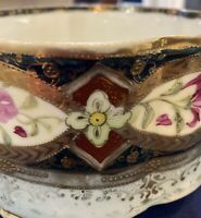 Antique ROYAL KINRAN NIPPON RAISED MORIAGE, Lt Blue,Navy,Pink & HEAVY GOLD ACCTS