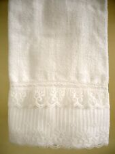 LACE Hand Towel (1) WHITE Velour Cotton Organza Lace 4 inch NEW by UtaLace