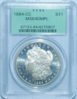 1884 CC PCGS MS64DMPL Deep Mirror Prooflike Carson City Morgan Silver Dollar OGH