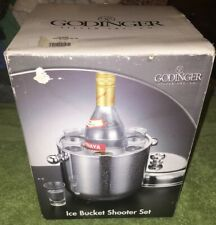 Godinger Stainless Steel Ice Bucket with Cover & Six Shot Glasses Set