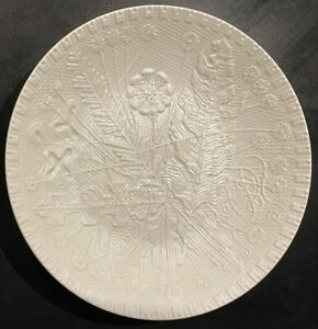 Rosenthal White Bisque Relief Art Mid Century Modernist 1977 Wall Plate