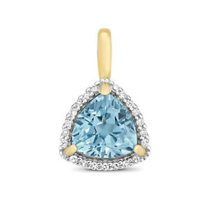 9ct Yellow Gold Trillion Fancy Cut Blue Topaz and Round Diamond Pendant