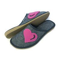New Womens Ladies Girls Pink Heart Grey Slip on Mule Slippers Size 3 4 5 6 7 8