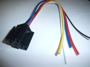 (3) 12V DC SPDT 30/40A Relay Socket Harness 5 Wire 16-14 GA Gauge Plug End New!