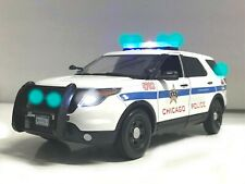 """""""CHICAGO PD POLICE FORD PI SUV 1/18 Explorer WORKING LED LIGHTS 4 SIREN Illinois"""