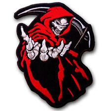 Skull Grim Reaper Devil Evil Patch Iron on Harley Rockabilly Flame Fire