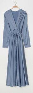 Long sleeve Silk V Neck Modest Maxi Gown
