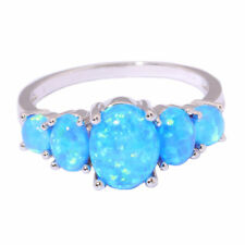 925 Silver Filled Blue Fire Opal Sapphire Ring Women Wedding Jewelry Sz#5-11