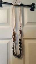 Chunky plastic chain necklace brown rectangular beads/black discs on ribbon