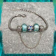 Bracelet CHARMS Bleu Clair En Verre de Murano AUTHENTIQUE & Argent 925 Rhodié
