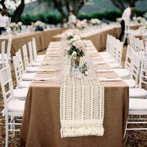 Cotton Woven Macrame Table Runner Rustic Wedding Table Farmhouse Boho Home Decor