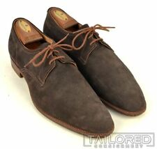 EDWARD GREEN Solid Gray Brown Suede PTB Plain Toe Blucher Dress Shoes - 9.5