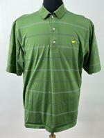 Amen Corner Men's Polo Golf Shirt Size L Green Striped Short Sleeve Pre-Owned