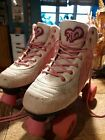 Pink And White Rio roller skates size 4