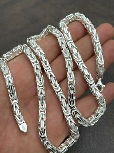 """Men's Byzantine Rope Chain Real Solid 925 Sterling Silver Necklace 6mm 18""""-30"""""""