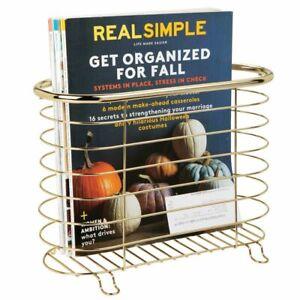 mDesign Metal Farmhouse Standing Bathroom Rack Magazine Holder - Soft Brass