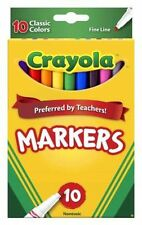 Crayola Classic Markers 10ct Fine Line 100 Markers Total Lot of 10 Packs of 10