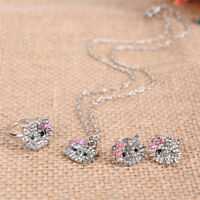 Crystal Cat Stud Necklace / Earrings / Ring Bowknot  For Fashion Girls Gifts  NT