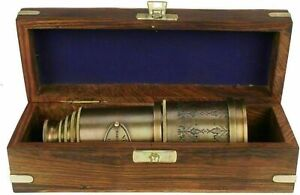 "Marine Telescope Nautical Antique Solid Brass Pirate Spyglass 20"" Wooden Box"