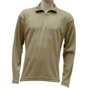 Advantage Men's Large Mid Weight ZIP TOP Thermal Under Wear Shirt Tan NEW!!
