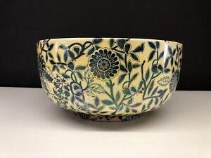 Beautiful Maling Coronet Blue Yellow Iridescent Luster Bowl #1145 Birds