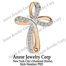 14K Solid Rose and White Gold Cross Diamond Pendant #P923