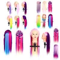 Colorful Salon Long Hair Hairdressing Mannequin Doll Train Practice Head LT1