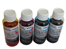 4x 100ml - Set Tinta Recargable DYE  - Negro Cyan Magenta Amarillo - para HP, Ep