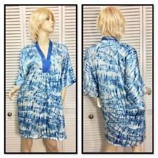 Oscar De La Renta Short Caftan Robe Medium Blue White  seaside Breeze  23f3b6bd3