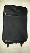 Vercelli Rolling Carry-On Black Canvas Nylon Suitcase With Rolling Wheels 20""