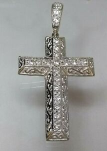 9ct White Gold Large Cross Statement CZ stones (real gold not filled or plated)
